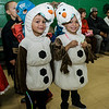 Derrilll Aldrich and Nelson Aldrich, both 5, dress as twin Olaf's during Reingold Elementary School's annual Halloween Dance on Friday evening. SENTINEL & ENTERPRISE / Ashley Green