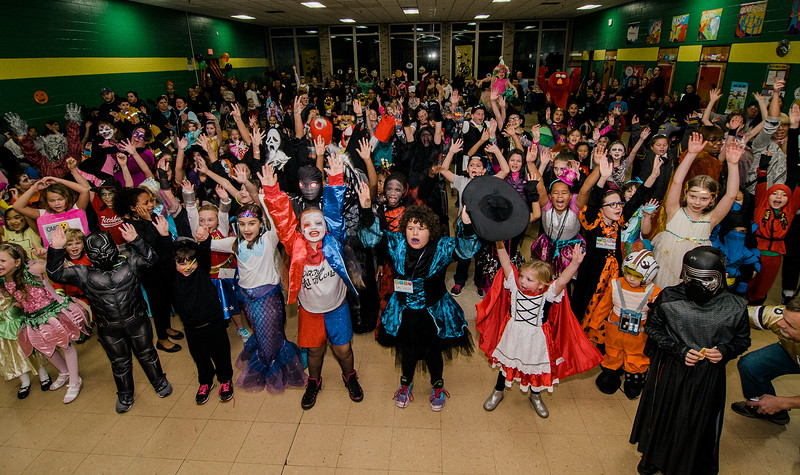 Students have a ball during Reingold Elementary School's annual Halloween Dance on Friday evening. SENTINEL & ENTERPRISE / Ashley Green