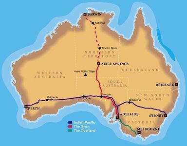 Die Reiseroute Perth - Sydney: 4352 km