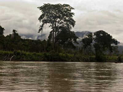 Fahrt mit dem Langboot auf einem Fluss Es hat fast jeden Nachmittag ein wenig geregnet
