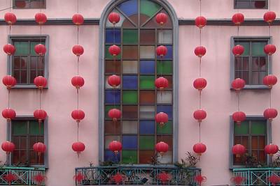 Chinesisches Neues Jahr Ein schön geschmücktes Haus
