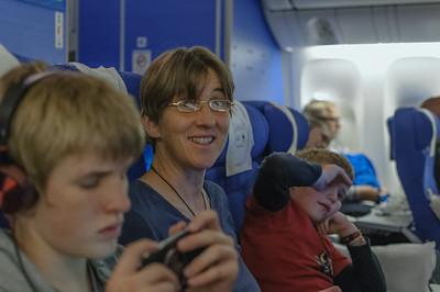 Glücklich im Flieger nach Johannesburg.