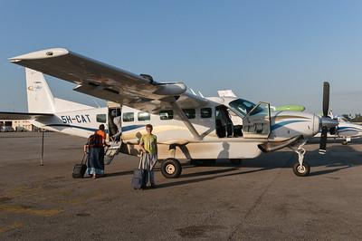 Die Cessna Caravan mit der wir von Sansibar zurück ans Festland flogen.