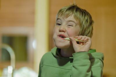 Auch auf der Hütte muss man natürlich Zähne putzen.