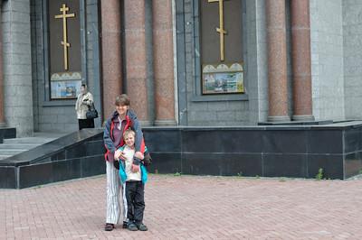 """Vor der """"Kathedrale auf dem Blut"""" in Ekaterinenburg."""