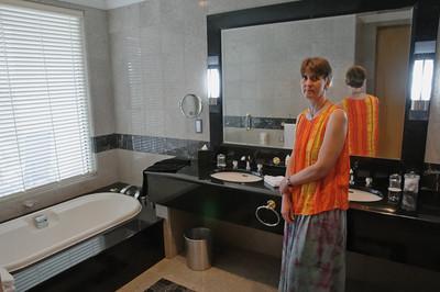 Dies ist das Badezimmer unseres Zimmers im Empire.