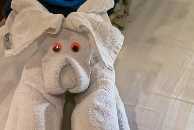 Jeden Abend finden wir ein nettes Tier aus Handtüchern auf unserem Bett.