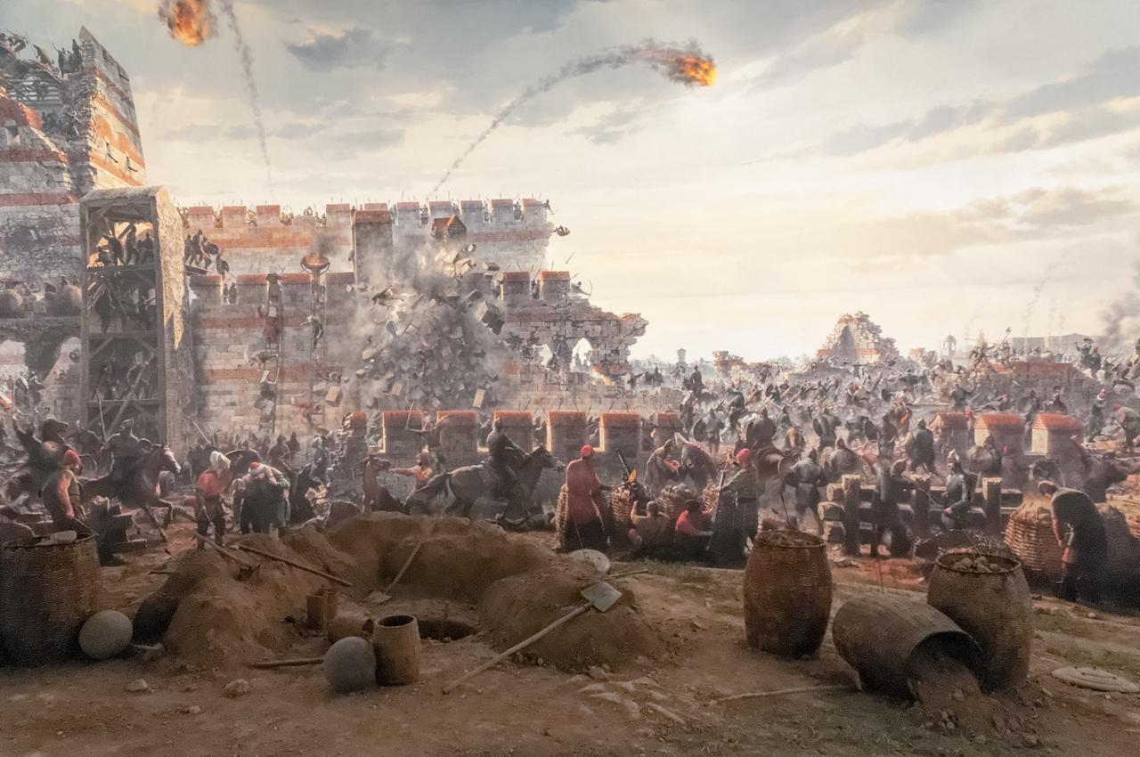 Die Schlacht um Konstantinopel im Jahr 1453 wird in einem kleinen Museum auf einem 360Grad Panorama gezeigt.