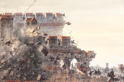 Unter der Mauer wurde dann Schwarzpulver gezündet und die Mauer zum Einsturz gebracht.