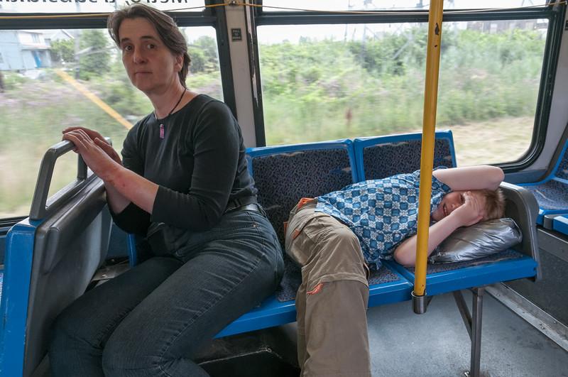 Auf der Fahrt im Bus zu den Niagarafällen hat Richard noch ein kleines Nickerchen gemacht.