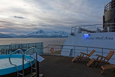 Heute haben wir uns das Bad im Arctic Pool an Deck gespart.