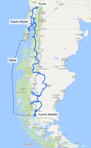 Die geplante Strecke von Villarica nach Puerto Natales ist etwa 2650km lang.