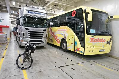 Bei der Ankunft in Hirtshals stand ich ganz vorne. Hinter mir kamen dann die Busse und LKWs.