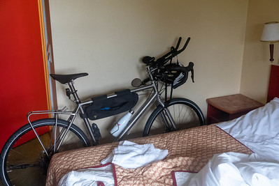 Im Hotel in Tysfjord konnte ich das Rad mit ins Zimmer nehmen.