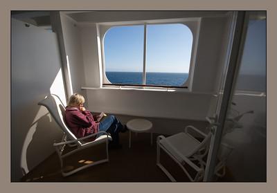 QM2, Blick über den Ozean aus unserer Kabine