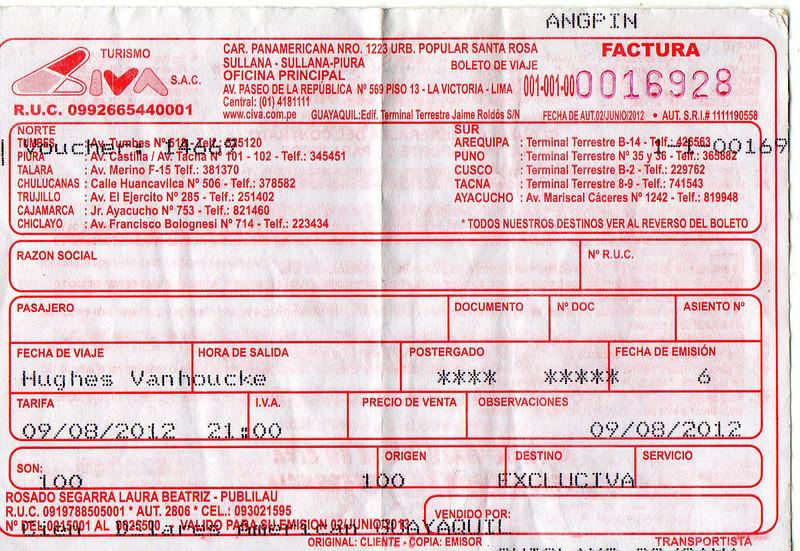 Busticket gisterenavond afgedrukt in het kantoor van CIVA in de busterminal van Guayaquil. <br /> De rit werd een paar maanden geleden gekocht via het Internet voor 100 S/. per persoon, toen 37 USD. <br /> Ruim 1 USD per 20 km dus want de rit bedraagt 710 km.