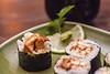 Een detail van de sushi met teriyaki smaak (5,5 €). Lekker!