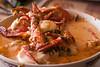 'Chupe de camarones', een typisch gerecht uit Peru's tweede grootste stad: Arequipa. <br /> Hoofdingrediënten: rivierkreeft, melkpoeder, huacatay (Peruviaans kruid), kaas en nog een resem andere ingrediënten. <br /> <br /> Kostprijs: 35 S/. (11 €)<br /> Restaurant Claudia - Palpa - Ica - Peru<br /> Zondag 12 augustus '12