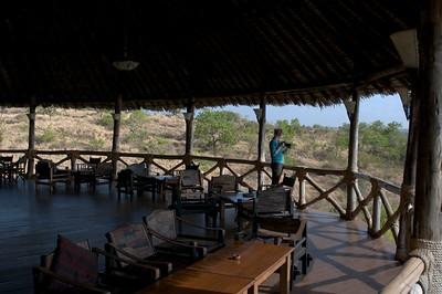 Balcony of restaurant at Lake Chala Safari Camp