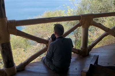 Taking pictures at Lake Chala