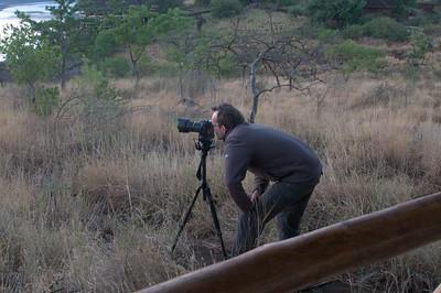 Taking time-lapse pictures at Lake Chala