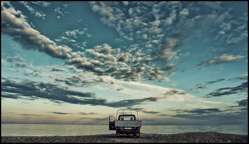 At lake Baikal driving our UAZ