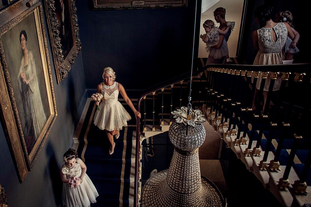 Stairs at Stubton Hall wedding