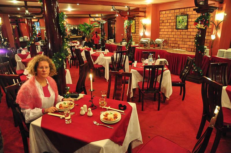 Vi var stort set alene i restauranten!