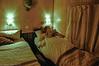 Godnat - i vores udmærkede kahyt med bad! - ja, væggene er af bambus