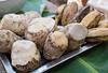 lunch: sweet potatoes, yam yam, bananas...