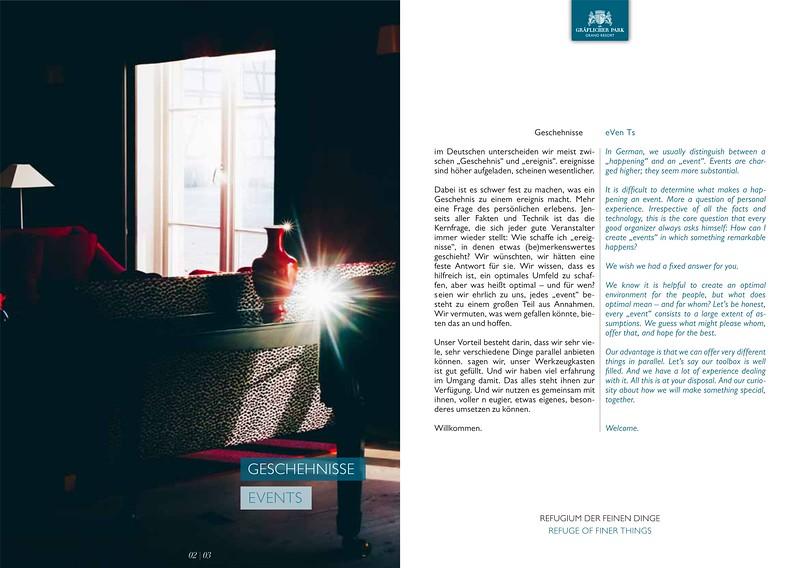 Printkonzept Foto/Text/Grafik/Text/Claim Luxushotel Foto/Text/Grafik