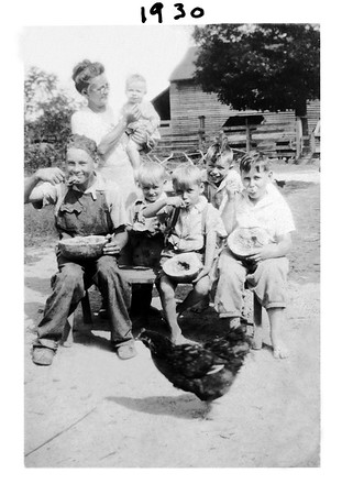 Bettie and Kids eating Watermelon 1930