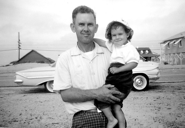 Unknown Man and Daughter at Beach July 1961