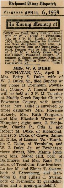 Bettie Duke Death Notice April 5, 1954