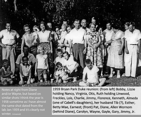 Duke Family Reunion at Bryan Park 1958