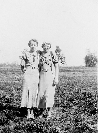 Florence and Ruth in a field circa 1933