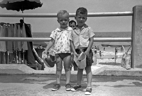Gary and Linwood at Beach August 1958