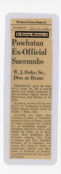 W.J. Duke Sr., Death Notice April 26, 1954