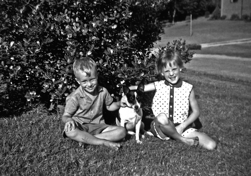 Linwood and Nancy and Dog July 1960