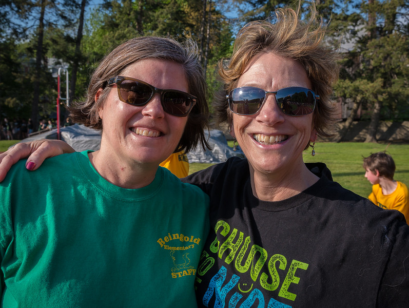 Reingold Elementary Principal Martha Clark and Assistant Principal Judy Jollimore cheer on the Reingold team at the Junior-Senior Relays at Crocker Field. SENTINEL&ENTERPRISE/ Jim Marabello