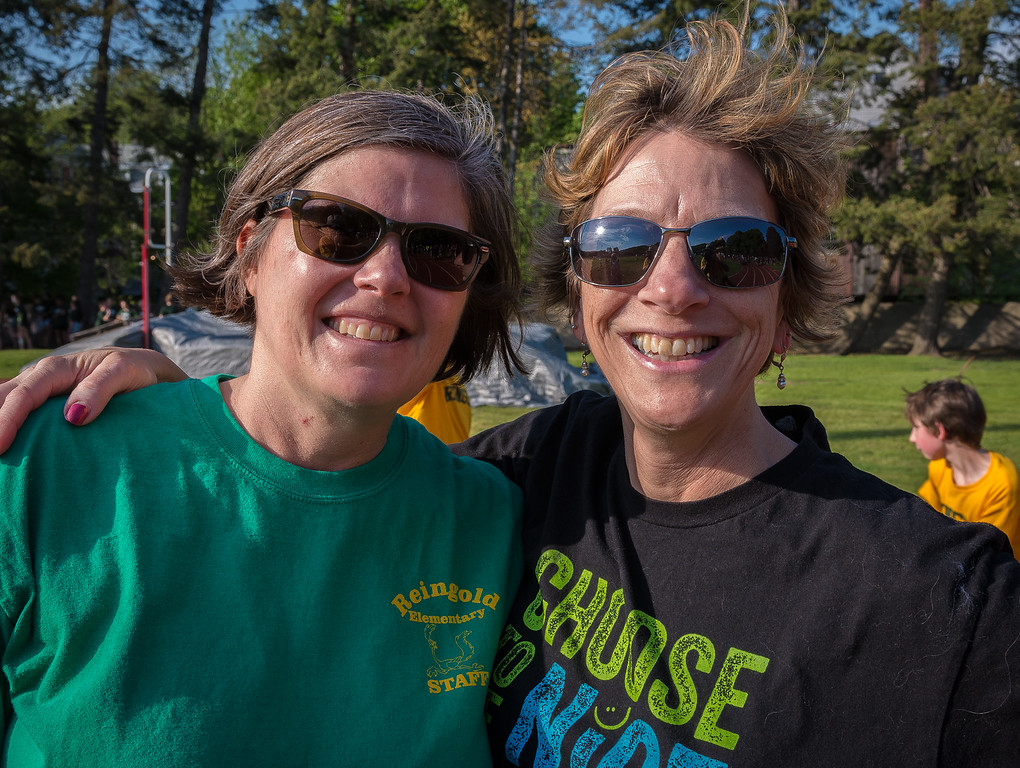 . Reingold Elementary Principal Martha Clark and Assistant Principal Judy Jollimore cheer on the Reingold team at the Junior-Senior Relays at Crocker Field. SENTINEL&ENTERPRISE/ Jim Marabello