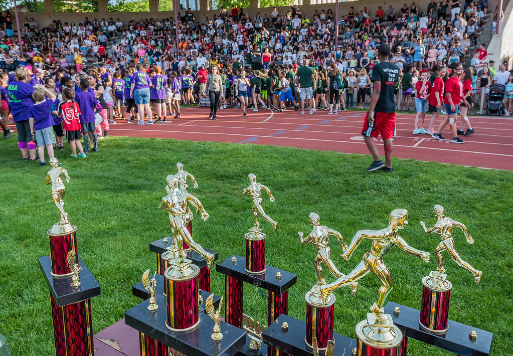 . Trophies await the winners of the Junior-Senior Relays at Crocker Field. SENTINEL&ENTERPRISE/ Jim Marabello