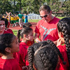 South St Elementary Phys Ed teacher Corey Beaulac prepares his troops prior to  the Junior-Senior Relays at Crocker Field. SENTINEL&ENTERPRISE/ Jim Marabello