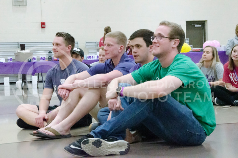 Attendees watch On the Spot Improv at Relay for Life on Saturday, March 2, 2018, at Chester E. Peters Recreation Complex. (Tiffany Roney | Collegian Media Group)