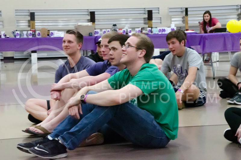 Relay for Life attendees watch On the Spot Improv at Chester E. Peters Recreation Complex on Friday, March 2, 2018. (Tiffany Roney | Collegian Media Group)
