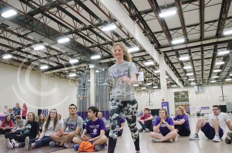 Tori Farwell, senior in biology, volunteers for a game with On the Spot Improv at Relay for Life on Saturday, March 2, 2018, at Chester E. Peters Recreation Complex. (Tiffany Roney | Collegian Media Group)