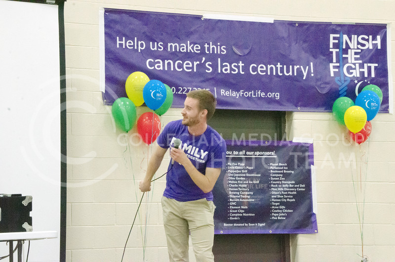 Jordan Strickler, senior in biochemistry and microbiology, and member of On the Spot Improv, emcees an improv game at Relay for Life on Saturday, March 2, 2018, at Chester E. Peters Recreation Complex. (Tiffany Roney | Collegian Media Group)