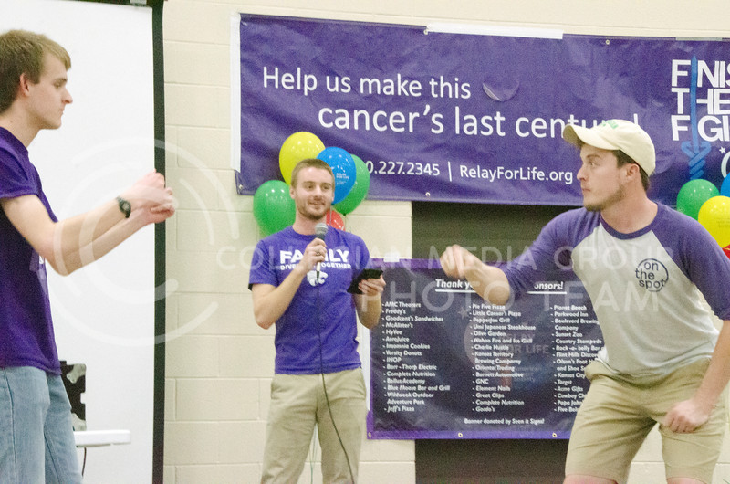Members of On the Spot Improv perform at Relay for Life on Saturday, March 2, 2018, at Chester E. Peters Recreation Complex. (Tiffany Roney | Collegian Media Group)