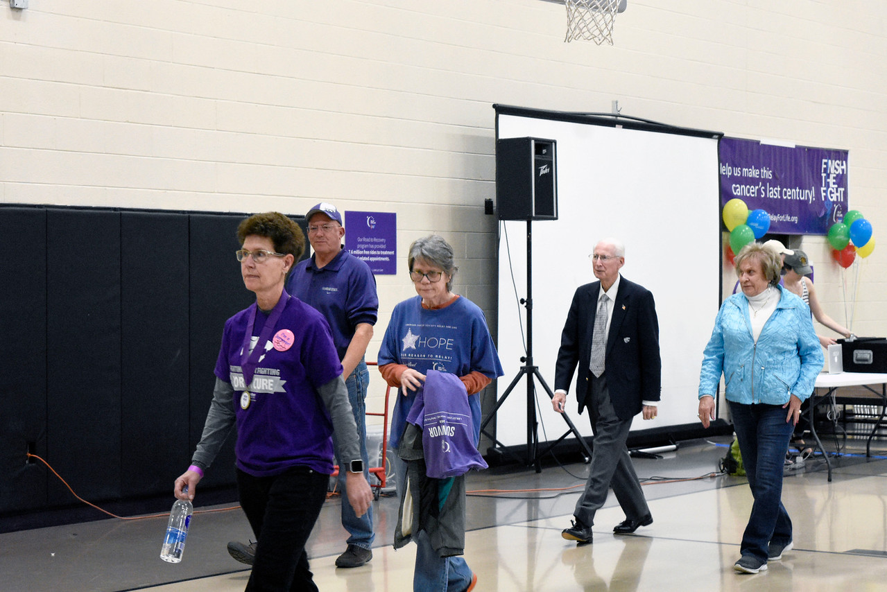 Coach Bill Snyder is walking with the survivors at the Rec Center for the Relay for Life, on Saturday march 3, 2018<br /> Photo by: Hasan Albasri