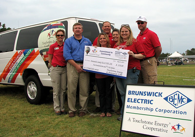 The Touchstone Energy and Brunswick Electric balloon team present a charitable donation check to the Relay for Life, supplementing the efforts of the BEMC employee team.   (l-r) Touchstone Energy Hot Air Balloon pilot Cheri White, Jimmy Green and Lisa Winfree, BEMC team captains, Robert W. Leavitt, Jr, CEO of BEMC, Beryl Hall, balloon team volunteer, Renee Adams, Relay Chairperson and Rodney, balloon crew chief. At the Brunswick County Relay for LIfe, May 4, 2007